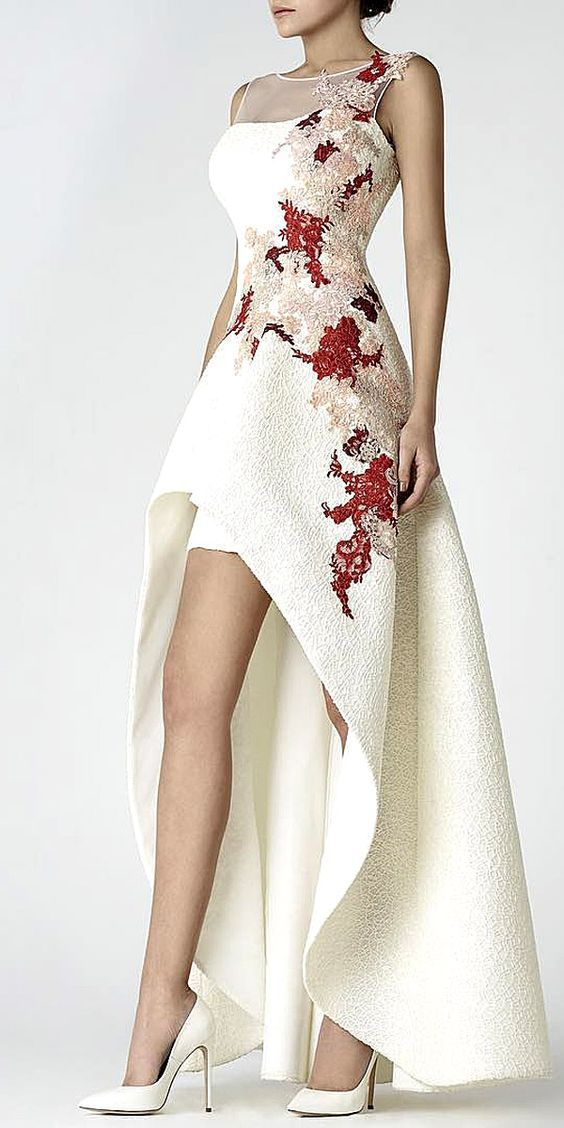 White high-low evening dress with red and beige embroidery and sheer detail