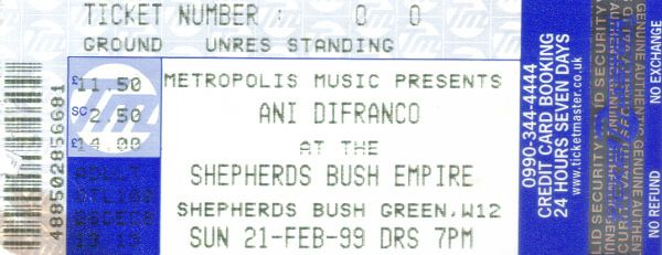 https://flic.kr/p/H5HvcV | 19990221AniDifranco | 21 Feb 1999 Ani Difranco Shepherds Bush Empire London