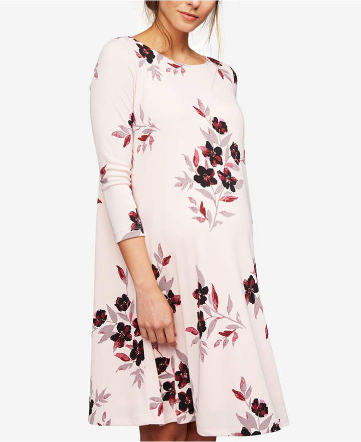 81f9e1f2445e4 A Pea In The Pod Maternity Floral-Print A-Line Dress. Maternity dress for  baby shower. Spring maternity dress. Summer maternity dress.