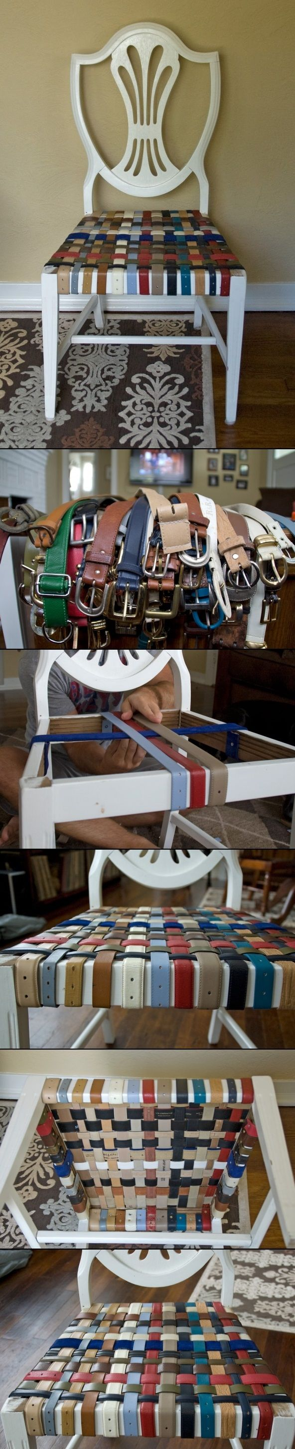 ~omg! way cool! who thought of this? always TONS of belts in thrift stores and have wondered what thrifted belts could be used for (straps for crocheted bags and purses, around piles of books or magazines to use as stools, around stacked pillows to use as floor cushions) but never thought of this~DIY CHAIR RENOVATION WITH BELTS