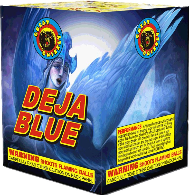 Deja Blue 16 Shot - North Central Industries - www.greatgrizzly.com - MUNCIE INDIANA WHOLESALE FIREWORKS •Category: Finale Repeaters •Item Number: 843 •Package Contents: 8 •Dimensions: 6 x 6 x 7 •Weight: 27lbs Brand Name: Great Grizzly DESCRIPTION: Every shot has blue in effect, 16 total shot of blue peony with tails, loud crackle, loud reports - Beautiful Blue Colors!!
