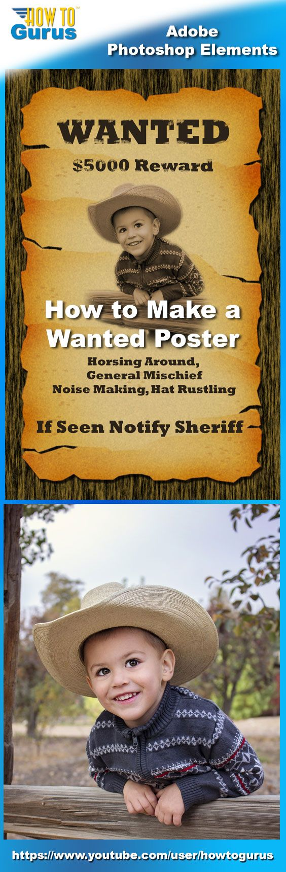 How to fix color cast in photoshop elements - How To Make A Wanted Poster From A Photograph In Adobe Photoshop Elements 15 14 13