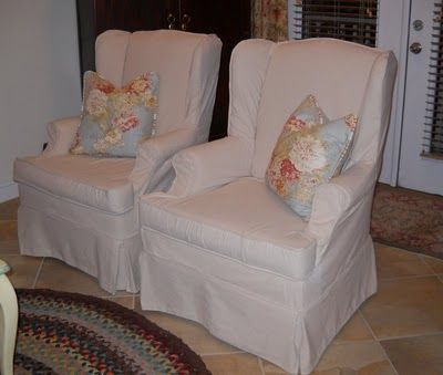 Osnaburg Slipcovers. Modern Living Room ChairsWing ... Part 88