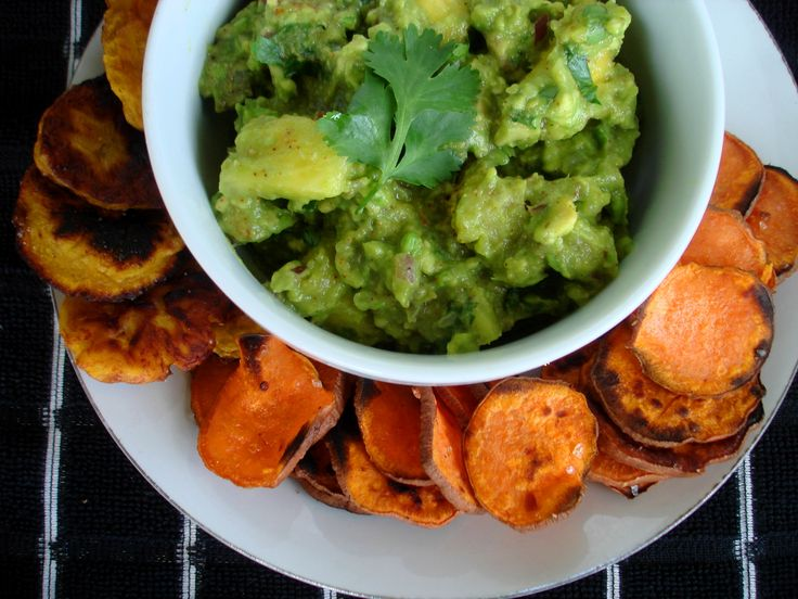 #paleo Chunk Pineapple Guacamole with Grilled Sweet Potato Chips