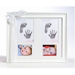Twin Baby Picture and Hand Prints Frame $50.00