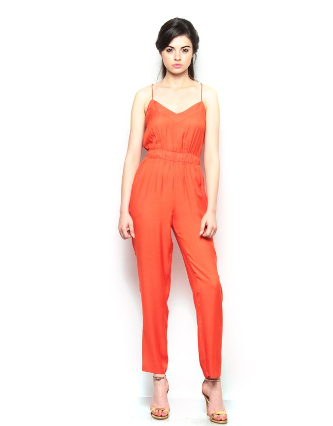 Orange Strappy Jumpsuit. Visit for more styles ➤ www.boutique.in/