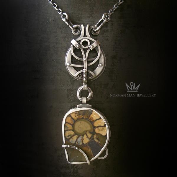 KOT SAMURAJ - SREBRNY NASZYJNIK Z AMONITEM|Silver Pendant|Handmade|By Norman Man Jewellery