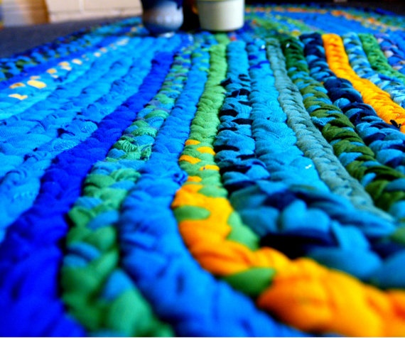 Rug Or Rag Meaning: Handmade BRAIDED Rag Rug Made With Upcycled