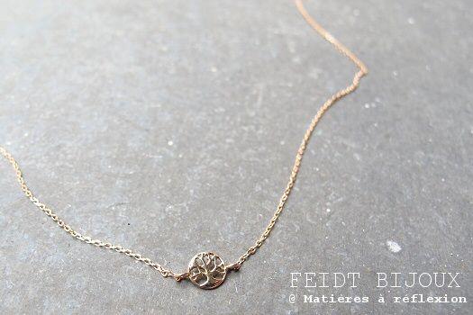 """Collier """"Arbre de vie"""" de Feidt Bijoux en or rose 18 carats. @ www.matieresareflexion.com  #FeidtBijoux #BijouxenOr #Arbredevie #RoseGold #18K #Jewellery #Women #Accessories"""