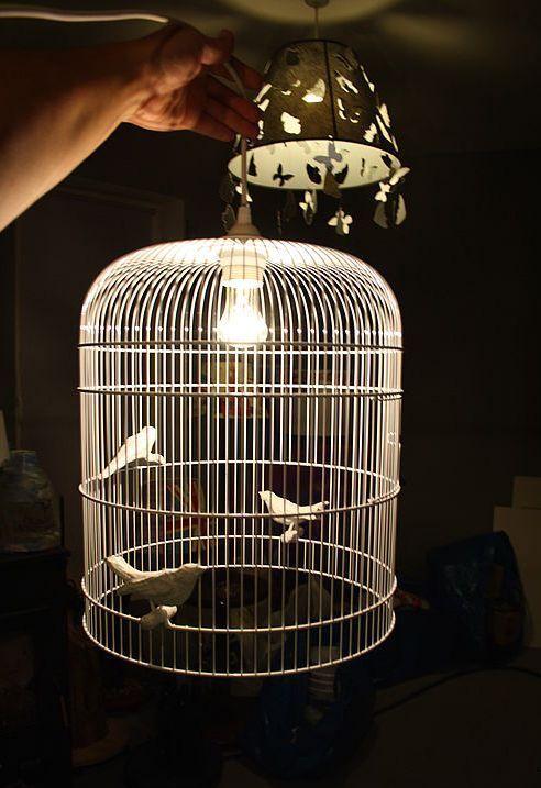 оригинальный светильник из птичьей клетки своими руками
