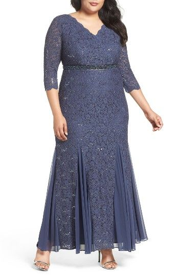 Embellished Waist Sequin Lace Dress (Plus Size) at Nordstrom.com. Encircled with pretty beading at the Empire waist, a sequin-sparked lace gown flatters with a V-neckline, a figure-skimming fit and a swingy, godet-flared skirt.