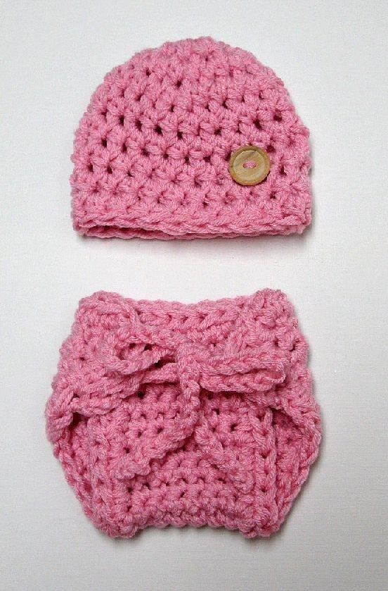 Girly Newborn Pink Hat And Diaper Cover Set | Beautiful Photo Props