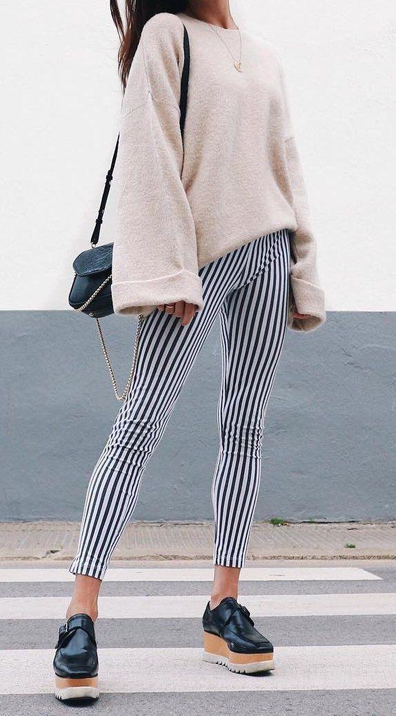#winter #outfits Cream Oversized Knit // Striped Skinny Pants // Black Platform // Black Shoulder Bag