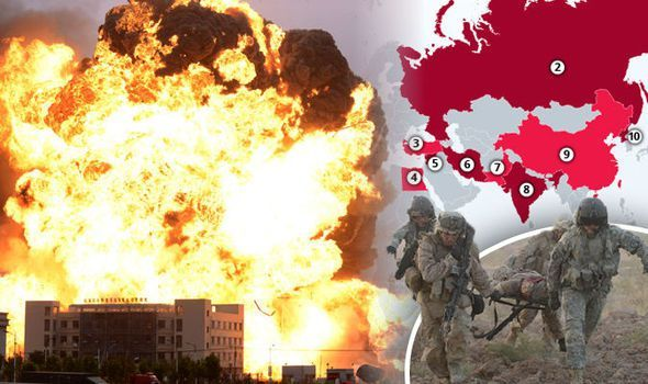 RUSSIA, China and the US are among a list of countries named as most likely to spark a devastating global conflict. Pakistan, North Korea and Syria also make the cut of countries that could potenti...