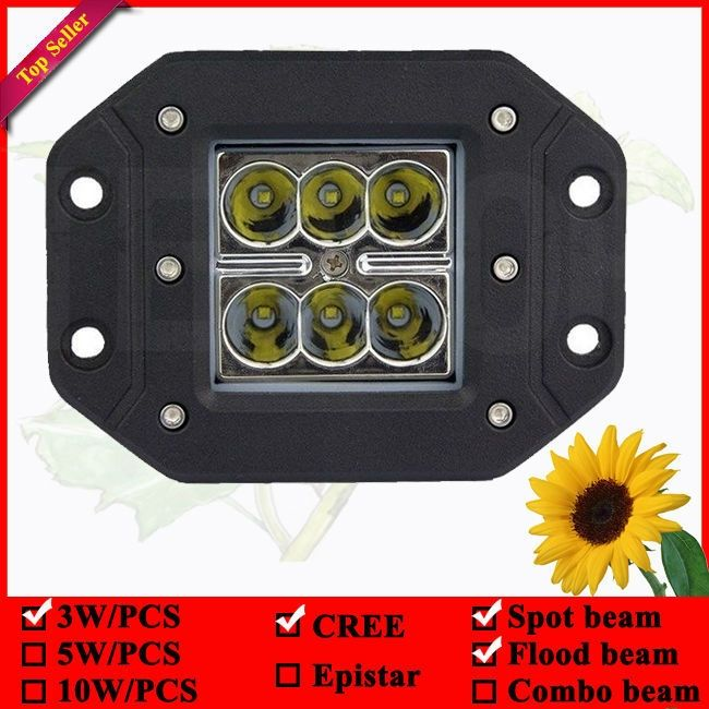 14.00$  Buy now - http://ali6od.shopchina.info/go.php?t=32370261558 - 12 volt automotive led lights 18W flush mount led work lights for car 6pcs*3w led flush mount lamp 3x3 pod led flush mount lamps  #aliexpresschina