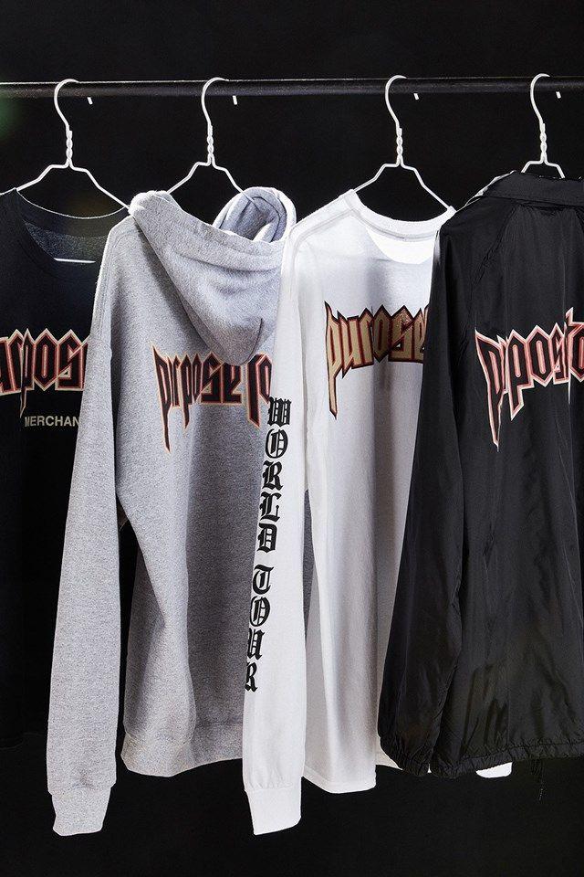 Justin Bieber, Purpose Tour Merch, Blackletter gothic font trend fashion