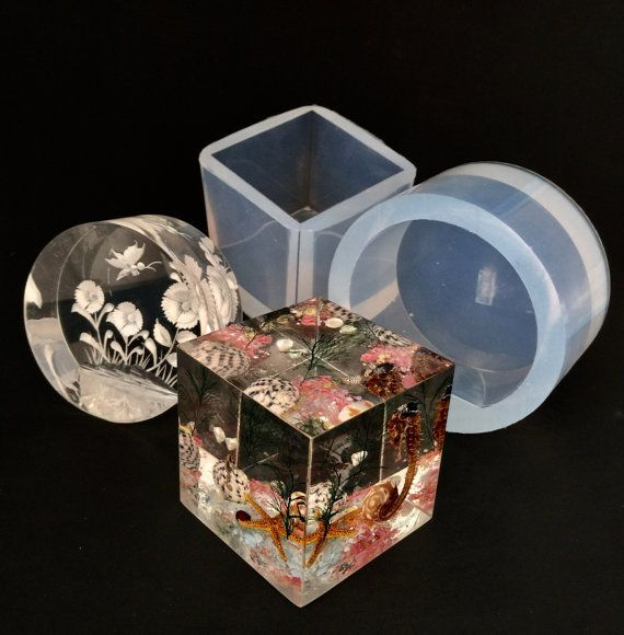 MEDIUM, ADVANCED LEVEL DECOR  CREATE YOUR OWN PAPERWEIGHTS OR HOME DECOR!!! CLEAR FLEXIBLE SILICONE RUBBER MOLDS  MADE TO ORDER. PLEASE ALLOW TO 2-3 DAYS FOR YOUR ITEM TO BE POURED, CURED, BEFORE IT IS SHIPPED TO YOU!  Condition: NEW Color: CLEAR Style: LARGE OPEN SIDE MOLDS Size: CUBE 2 1/4x 2 1/4 ROUND DIAMETR 3 HEIGHT 1 3/8 (ROUND PAPERWEIGHT HAS A FLAT BASE)  FOR RESIN VIDEO TUTORIALS, PLEASE VISIT MY YOUTUBE CHANNEL: ALAMOULD  This beautiful clear-translucent jewelry silic...