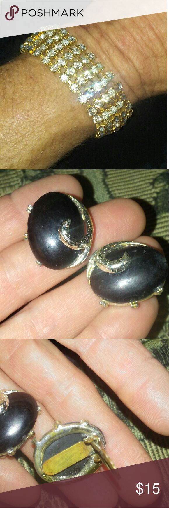 Antique Black Bakelite! Ear Rings Black Antique Bakelite?.  Ear Rings. Clip on. Sturdy. Good vibes to these old relix. Great craftmanship. Made to lasy. No damage. #antiqueearrings none Jewelry Earrings