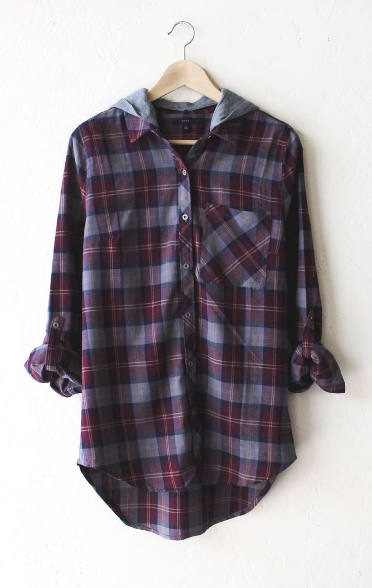 - Description Details: Relaxed oversized button down plaid flannel shirt in wine…