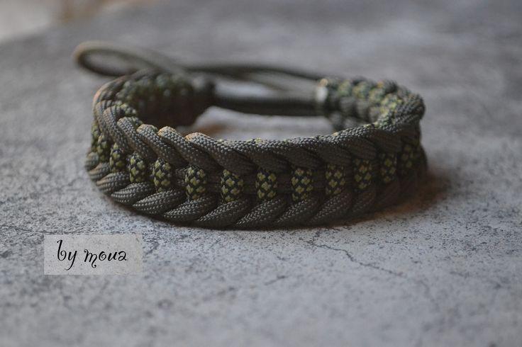 Bracelet en macrame vert kaki : Bijoux pour hommes par by-moua