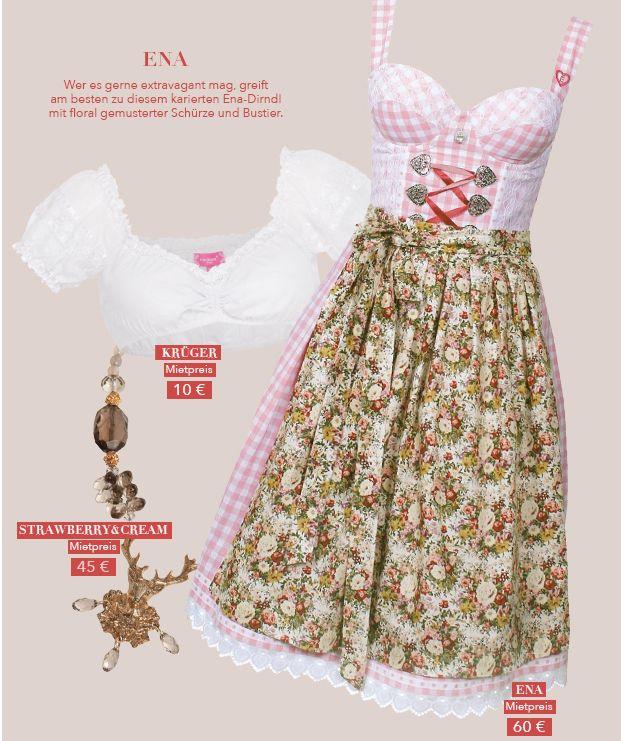 Karo-Dirndl in Rosa von ENA. Zu leihen bei dresscoded.com.#dresscoded