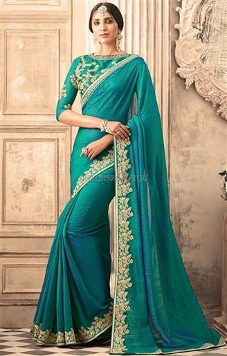 Fancy Pine Green Party Wear Embroidered Saree Set For Mehendi