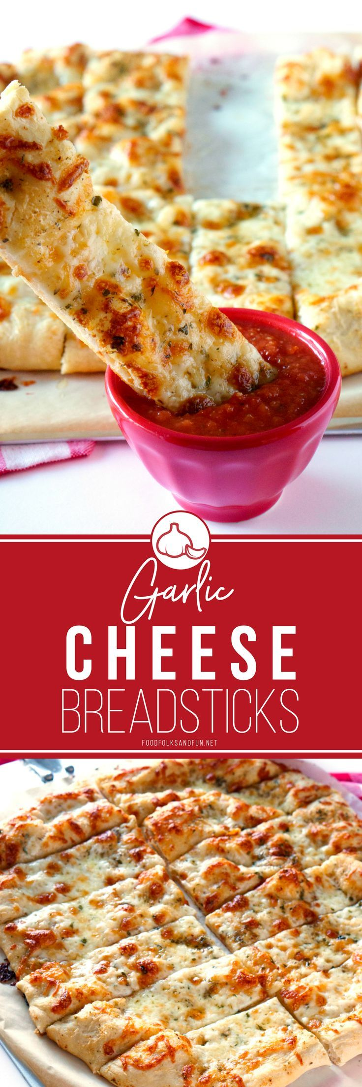 Garlic Cheese Breadsticks are perfect for pizza nights, parties, or just because! These breadsticks taste like they came right from your favorite pizzeria! | #recipe #recipeoftheday #ItalianFood #breadsticks #comfortfood #appetizer #comfortfood
