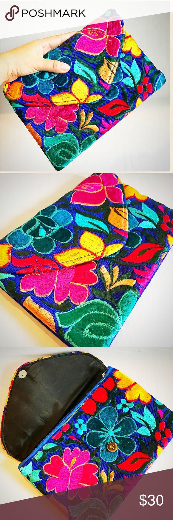 ❤️New Clutch Bag Envelope Handmade Embroidered Beautiful unique One-of-a-Kind design exclusively made for Cielito Lindo Mexican Boutique! You won't find it anywhere else! Snap and zippered closure. Royal blue with colorful floral embroidery made with silk thread using very vibrant colors! Envelope style! Cielito Lindo  Bags Clutches & Wristlets