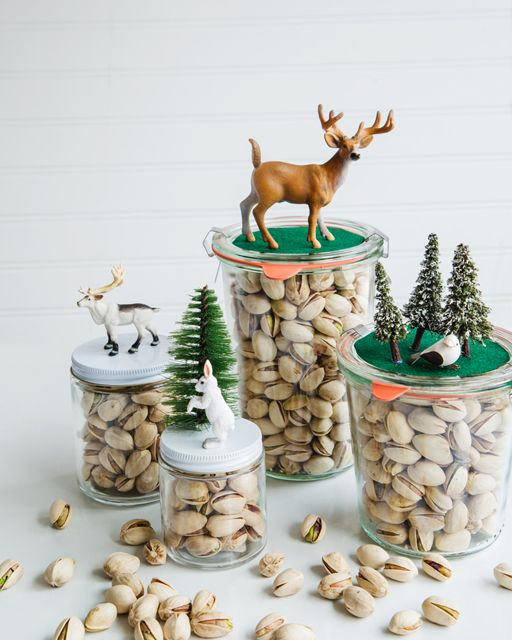 Pistachio Diorama Jars: The Perfect Edible Gift - http://www.sweetpaulmag.com/crafts/pistachio-diorama-jars-the-perfect-edible-gift #sweetpaul