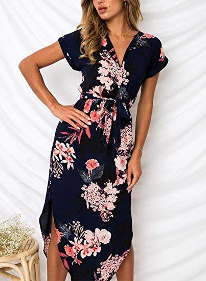 8d65f7a03c3 Cindeyar Womens Dresses Summer Floral Maxi Dress Print Tunic Split Casual Short  Sleeve Long Skirt