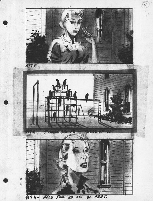 Storyboards for Alfred Hitchcock's The Birds