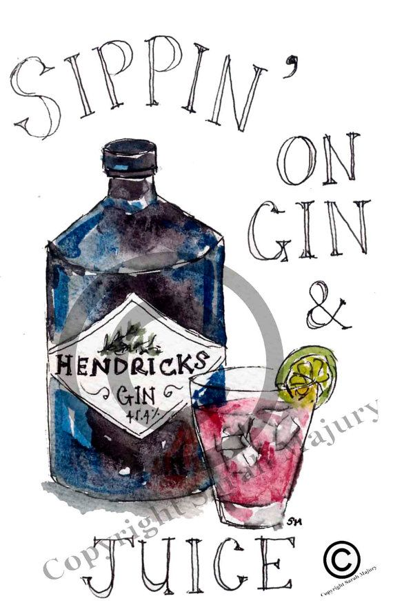 Sippin' on Gin and Juice card by Sarah Majury