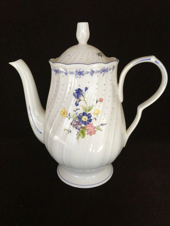 Nikko tableware.  Blue Peony.  Coffee tea pot   by FrancinaLaCasa
