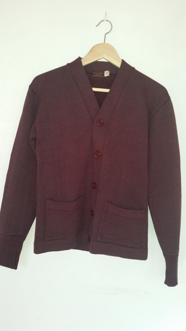 50's Wilson Varsity Letterman Maroon Sweater Sport Team Unisex Cardigan High School or College Made by Wilson Sporting Goods, USA Size 38 by ZoomVintage on Etsy