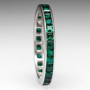 Vintage Lab Created Emerald Eternity Wedding Band Ring 10K White Gold - EraGem