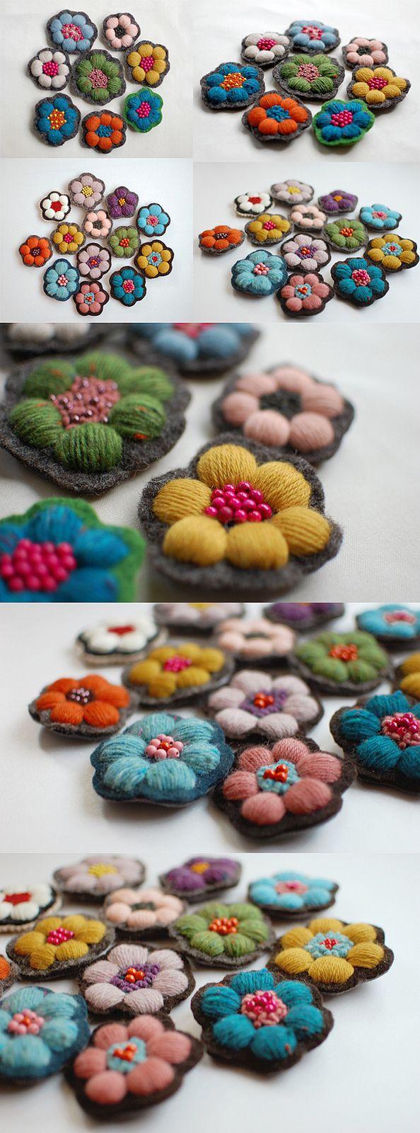 flowers brooch; tinytoadstool by shan shan