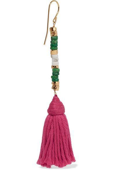 Aurélie Bidermann - Sioux Gold-plated, Stone And Tassel Earrings - Pink - one size