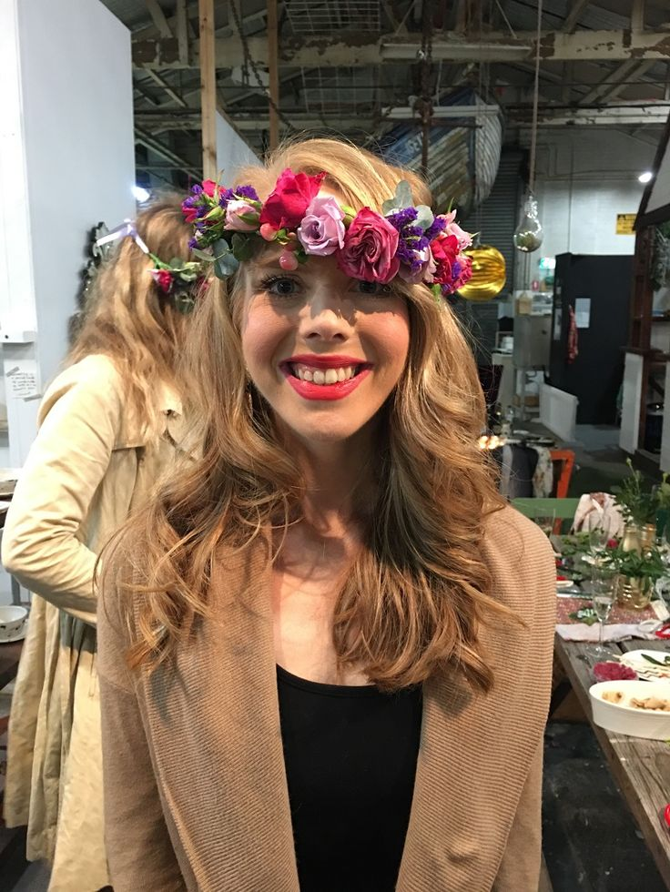 Floral head dress made up at our flower crown making session #flowercrownworkshop #sydneyhens