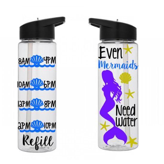 Water Tracking Bottle, Mermaid Water Bottle, Personalized Water Bottle, Motivational Water Bottle