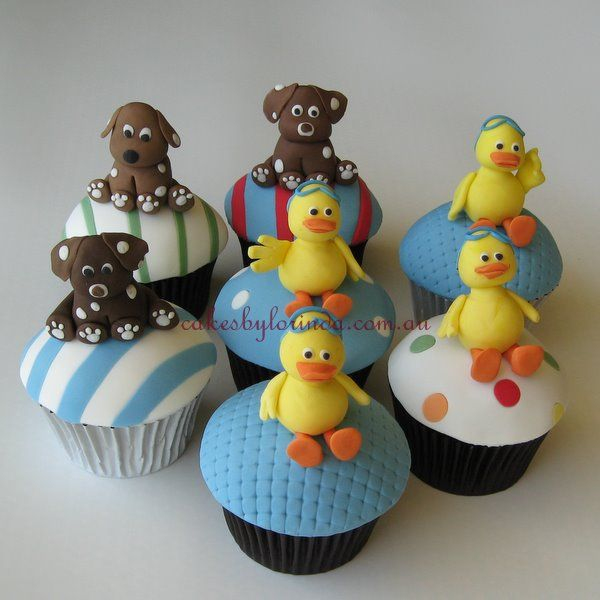 Little ducks and little dogs cup cakes #cupcakes