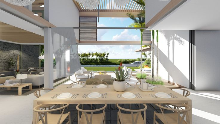Located on the beautiful island of Mauritius. The architecture pushes the boundaries of the of the Marina's design code. The double volume spaces with internal vegetation bringing the outdoors in. The expansive glass and fold away doors open the house up the the incredible views of the marina. The house is one of a few that allows access to a private jetty and boat mooring.