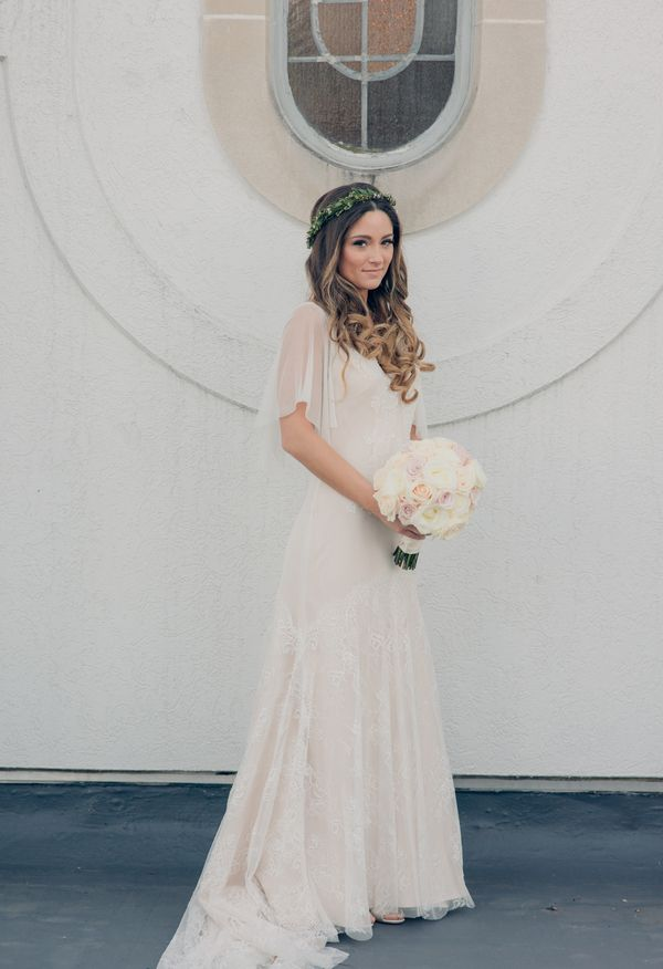 Fluttering sleeves, romantic wedding dress, simple and flowing // Kristy Lumsden Photography
