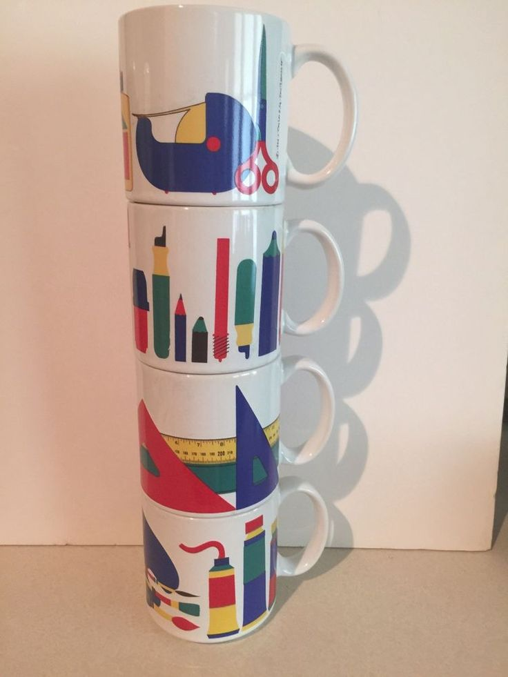 "Set of 4 (four) Win Ng TAYLOR and NG Mugs 1984 ""PRIMARY SUPPLIES"" with Simple Mod Graphics of Teacher /School /Office Products. Great gift for a favorite teacher, boss or office colleague! Primary colors and modern design.E ach mug has a different, complementary design. 