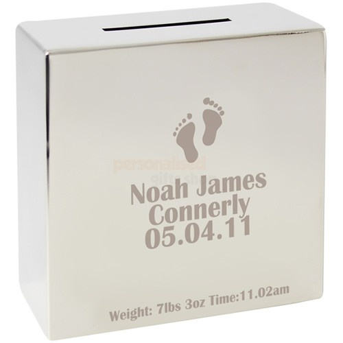 Personalised Footprint Silver Money Box  from Personalised Gifts Shop - ONLY £19.95