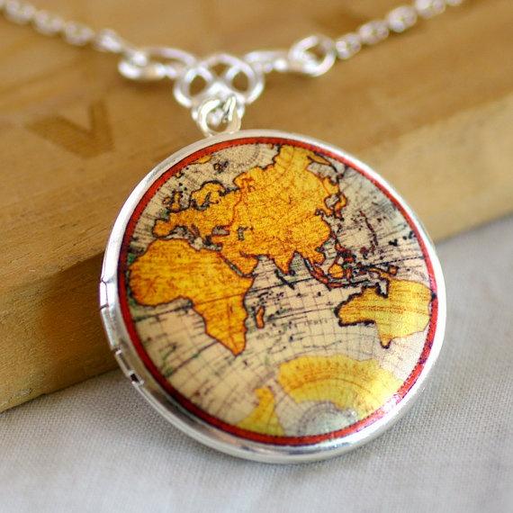 Vintage World Map Locket Necklace