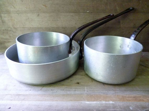 Aluminium Saucepans, Industrial Cookware  by Monsieur Renards Attic This is serious cooking!