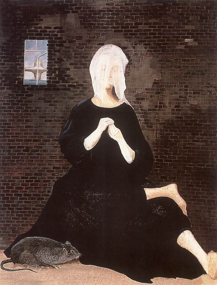 Woman with Veil (Distress Woman in Black Robe) 1955 Paintings | Lili Orszag paintings