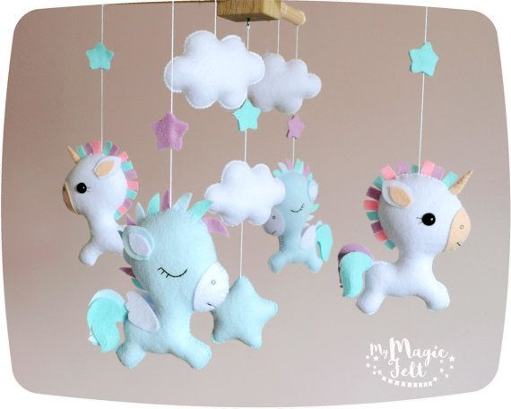 Baby mobile unicorn Baby mobile pegasus White baby mobile