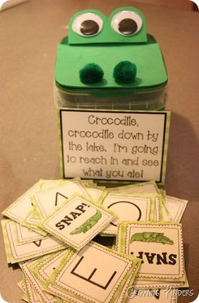Crocodile Snap Game- If a letter is read correctly,students get to keep it. If snap is pulled, the cards all go back in the crocodile.