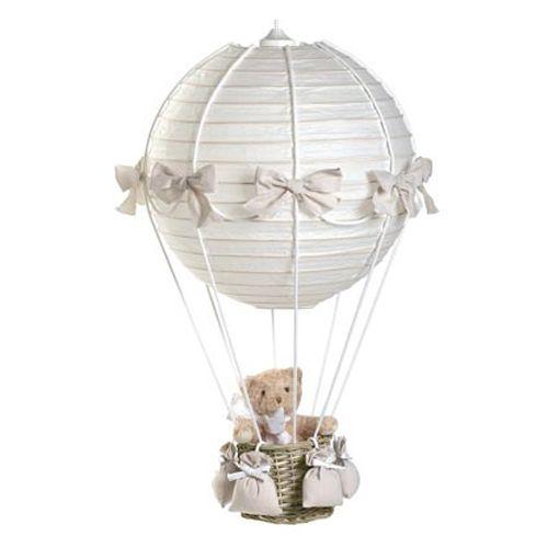 LAMPARA GLOBO CUADRO VICHY BEIGE. Lampara Globo Oso Toile de Jouy Beige. Lampara de techo con forma de Globo, para la decoración de la habitación de tu bebé, con estampado Toile de Jouy en Beige y Cestita con Osito de 20 cm. Medidas lampara: 40x70cm.